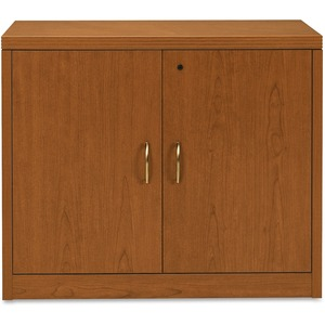 "HON Valido 11500 Series Storage Cabinet With Doors - 36"" Width x 20"" Depth x 29.5"" Height - Ribbon Edge - Particleboard - Bourbon Cherry"