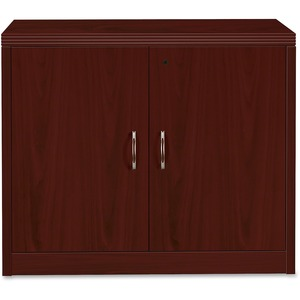 "HON Valido 11500 Series Storage Cabinet with Doors - 36"" Width x 20"" Depth x 29.5"" Height - Ribbon Edge - Particleboard - Mahogany"