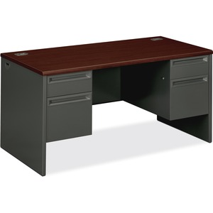 "HON 38000 Series Double Pedestal Desk - 60"" Width x 30"" Depth x 29.5"" Height - 4 Drawer - Double - Radius Edge - Wood, Steel - Mahogany Top, Charcoal Frame"