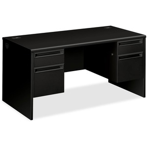 "HON 38000 Series Double Pedestal Desk - 60"" Width x 30"" Depth x 29.5"" Height - 4 Drawer - Double - Radius Edge - Steel - Black"