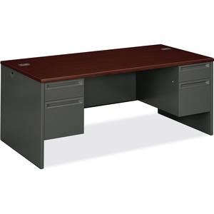 "HON 38000 Series Double Pedestal Desk - 72"" Width x 36"" Depth x 29.5"" Height - 4 Drawer - Double - Radius Edge - Wood, Steel - Mahogany Top, Charcoal Frame"