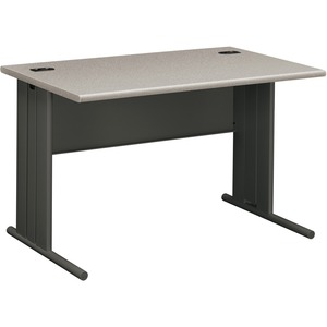 "HON StationMaster 66000 Series Desk - 48"" Width x 29.5"" Depth x 29.5"" Height - Radius Edge - Gray Top, Charcoal Frame"