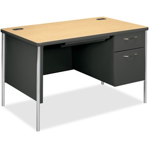 "HON Mentor Single Pedestal Desk - Rectangle - 29.5"" x 48"" x 30"" - Metal - White Leg, Maple"