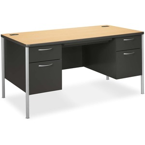 "HON Mentor Double Pedestal Desk - Rectangle - Drawer - 30"" x 60"" x 29.5"" - Steel - Natural Maple, Charcoal"