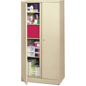 "HON Easy-To-Assemble Storage Cabinet - 36"" x 18"" x 72"" - Steel - 4 x Shelf(ves) - Security Lock, Leveling Glide - Putty"