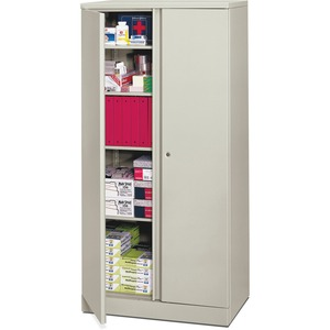 "HON Easy-To-Assemble Storage Cabinet - 36"" x 18"" x 72"" - 4 x Shelf(ves) - Security Lock, Leveling Glide - Light Gray"