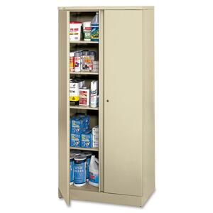 "HON Easy-To-Assemble Storage Cabinet - 36"" x 18"" x 78"" - Steel - 4 x Shelf(ves) - Security Lock, Leveling Glide - Putty"