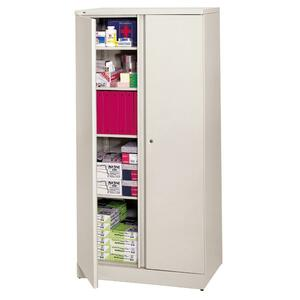 "HON Easy-To-Assemble Storage Cabinet - 36"" x 18"" x 78"" - Steel - 4 x Shelf(ves) - Security Lock, Leveling Glide - Light Gray"