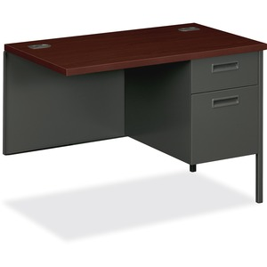 "HON Metro Classic P3235RNS Steel Right Pedestal Return - 42"" Width x 24"" Depth x 29.5"" Height - 2 Drawer - Single Pedestal on Right Side - Steel - Mahogany Top, Charcoal Frame"