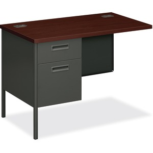 "HON Metro Classic P3236LNS Steel Left Pedestal Return - 42"" Width x 24"" Depth x 29.5"" Height - 2 Drawer - Single Pedestal on Left Side - Steel - Mahogany Top, Charcoal Frame"