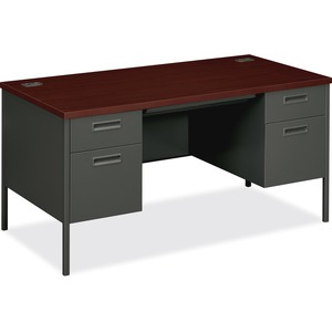 "HON Metro Classic Series 30x60 Double Ped Desk - Rectangle - 2 Drawer, 2 Box - 30"" x 60"" x 29.5"" - Steel - Mahogany, Charcoal"