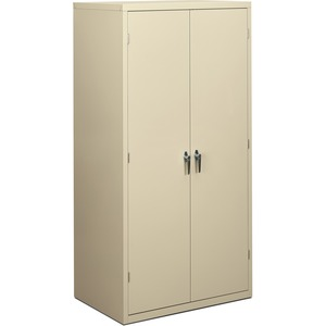 HON Steel Storage Cabinet - 36&quot; x 24.25&quot; x 71&quot; - Steel - 5 x Shelf(ves) - Security Lock, Leveling Glide - Putty