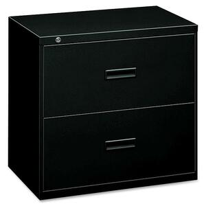 "HON 400 Series Lateral File w/Lock - 30"" x 19.25"" x 28.37"" - Steel - 2 x File Drawer(s) - Legal, Letter - Interlocking - Black"