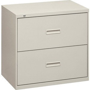 "HON 400 Series Lateral File With Lock - 30"" x 19.25"" x 28.37"" - Steel - 2 x File Drawer(s) - Legal, Letter - Interlocking - Light Gray"