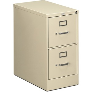 "HON 512PL Vertical File With Lock - 15"" x 25"" x 29"" - Steel - 2 x File Drawer(s) - Letter - Security Lock - Putty"