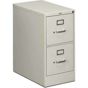 "HON 512PQ Vertical File With Lock - 15"" x 25"" x 29"" - Steel - 2 x File Drawer(s) - Letter - Security Lock - Light Gray"