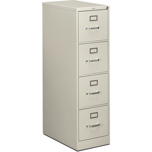"HON 514PQ Vertical File With Lock - 15"" x 25"" x 52"" - Steel - 4 x File Drawer(s) - Letter - Security Lock - Light Gray"