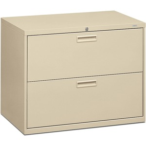 "HON 500 Series Lateral File - 36"" x 19.25"" x 28.37"" - Steel - 2 Drawer(s) - Letter - Putty"