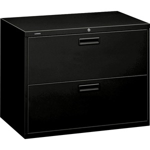 "HON 500 Series Lateral File - 36"" x 19.25"" x 28.37"" - Steel - 2 Drawer(s) - Legal - Black"