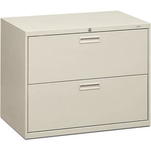 "HON 500 Series Lateral File - 36"" x 19.25"" x 28.37"" - Steel - 2 Drawer(s) - Letter - Light Gray"