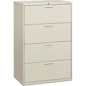 "HON 500 Series Lateral File - 36"" x 19.25"" x 53"" - Steel - 4 Drawer(s) - Letter - Light Gray"