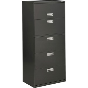 "HON 600 Series Standard Lateral Files With Lock - 30"" x 19.25"" x 67"" - Steel - 1 x Shelf(ves) - 5 x File Drawer(s) - Legal, Legal - Interlocking, Leveling Glide - Charcoal"