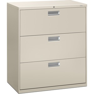 "HON 600 Series Standard Lateral File With Lock - 36"" x 19.25"" x 41"" - Steel - 3 x File Drawer(s) - Legal, Letter - Interlocking, Leveling Glide - Gray"