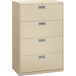 "HON 600 Series Standard Lateral File With Lock - 36"" x 19.25"" x 53"" - Steel - 4 x File Drawer(s) - Legal, Letter - Interlocking, Leveling Glide - Putty"