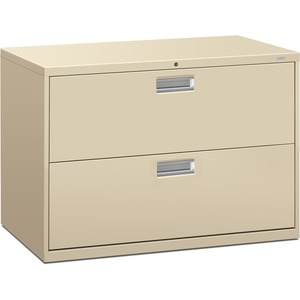 "HON 600 Series Standard Lateral File With Lock - 42"" x 19.25"" x 28.37"" - Steel - 2 x File Drawer(s) - Legal, Letter - Interlocking, Leveling Glide - Putty"