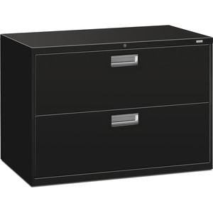 "HON 600 Series Standard Lateral File With Lock - 42"" x 19.25"" x 28.37"" - Steel - 2 x File Drawer(s) - Legal, Letter - Interlocking, Leveling Glide - Black"