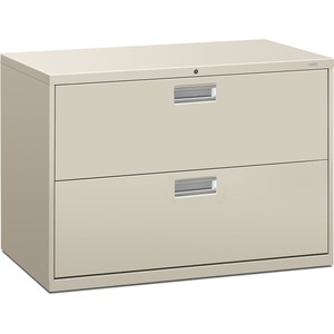 "HON 600 Series Standard Lateral File With Lock - 42"" x 19.25"" x 28.37"" - Steel - 2 x File Drawer(s) - Legal, Letter - Interlocking, Leveling Glide - Light Gray"