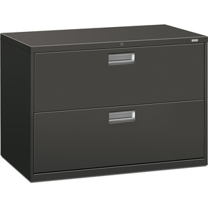 "HON 600 Series Standard Lateral File With Lock - 42"" x 19.25"" x 28.37"" - Steel - 2 Drawer(s) - Legal, Letter - Interlocking, Leveling Glide - Charcoal"