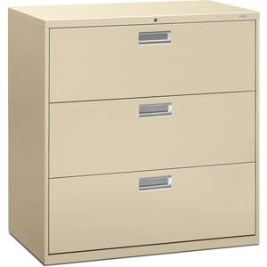 "HON 600 Series Standard Lateral File With Lock - 42"" x 19.25"" x 41"" - Steel - 3 x File Drawer(s) - Legal, Letter - Interlocking, Leveling Glide - Putty"