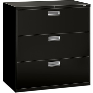 "HON 600 Series Standard Lateral File With Lock - 42"" x 19.25"" x 41"" - Steel - 3 x File Drawer(s) - Legal, Letter - Interlocking, Leveling Glide - Black"