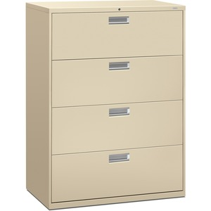 "HON 600 Series Standard Lateral File With Lock - 42"" x 19.25"" x 53"" - Steel - 4 x File Drawer(s) - Legal, Letter - Interlocking, Leveling Glide - Putty"