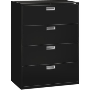 "HON 600 Series Standard Lateral File With Lock - 42"" x 19.25"" x 53"" - Steel - 4 x File Drawer(s) - Legal, Letter - Interlocking, Leveling Glide - Black"