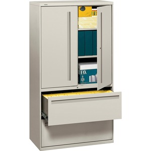 "HON 700 Series Lateral File With Storage Case - 36"" x 19.25"" x 67"" - Steel - 2 x Shelf(ves) - 5 Drawer(s) - Legal, Letter - Gray"