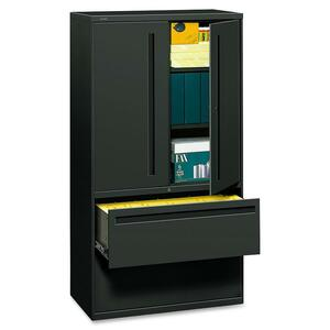 "HON 700 Series Lateral File With Storage Case - 36"" x 19.25"" x 67"" - Steel - 2 x Shelf(ves) - 5 Drawer(s) - Legal, Letter - Charcoal"