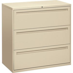 "HON 800 Series Full-Pull Locking Lateral File - 42"" x 19.25"" x 41"" - Steel - 3 x File Drawer(s) - Legal, Letter - Interlocking - Putty"