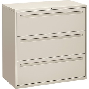 "HON 800 Series Full-Pull Locking Lateral File - 42"" x 19.25"" x 41"" - Metal - 3 x File Drawer(s) - Legal, Letter - Interlocking - Light Gray"