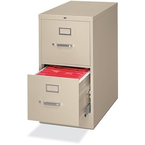 HON H322L Vertical File - 15.25&quot; x 26.5&quot; x 29&quot; - Metal - 2 Drawer(s) - Letter - Rust Resistant, Security Lock - Putty