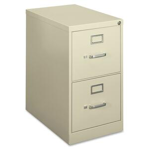 "HON 410 Series H412PL Vertical File - 15"" x 22"" x 26"" - Steel - 2 Drawer(s) - Letter, Legal - Security Lock - Putty"