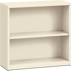 "HON Metal Bookcase - 34.5"" x 12.62"" x 29"" - Steel - 2 x Shelf(ves) - Rust Resistant - Putty"