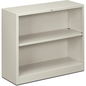 "HON Metal Bookcase - 34.5"" x 12.62"" x 29"" - Steel - 2 x Shelf(ves) - Rust Resistant - Light Gray"