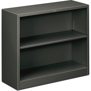 "HON Metal Bookcase - 34.5"" x 12.62"" x 29"" - Steel - 2 x Shelf(ves) - Rust Resistant - Charcoal"