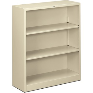 "HON Metal Bookcase - 34.5"" x 12.62"" x 41"" - Steel - 3 x Shelf(ves) - Rust Resistant - Putty"