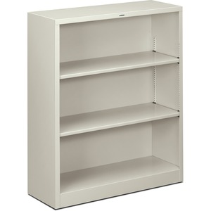 "HON Metal Bookcase - 34.5"" x 12.62"" x 41"" - Steel - 3 x Shelf(ves) - Rust Resistant - Light Gray"