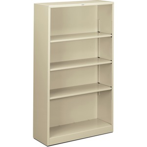 "HON Metal Bookcase - 34.5"" x 12.62"" x 59"" - Steel - 4 x Shelf(ves) - Rust Resistant - Putty"