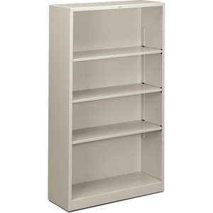 "HON Metal Bookcase - 34.5"" x 12.62"" x 59"" - Steel - 4 x Shelf(ves) - Rust Resistant - Light Gray"