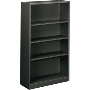 "HON Metal Bookcase - 34.5"" x 12.62"" x 59"" - Steel - 4 x Shelf(ves) - Rust Resistant - Charcoal"